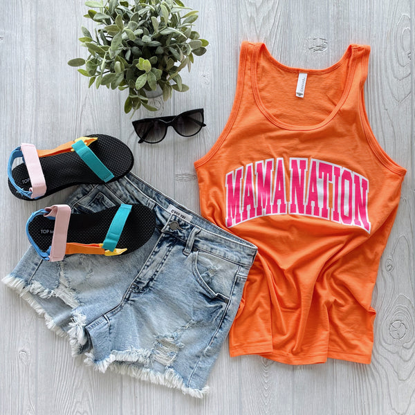 Mama Nation • Neon Orange Unisex Tank