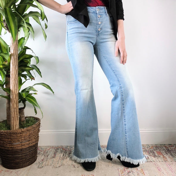 Mid-Rise Button Down Flare Jeans
