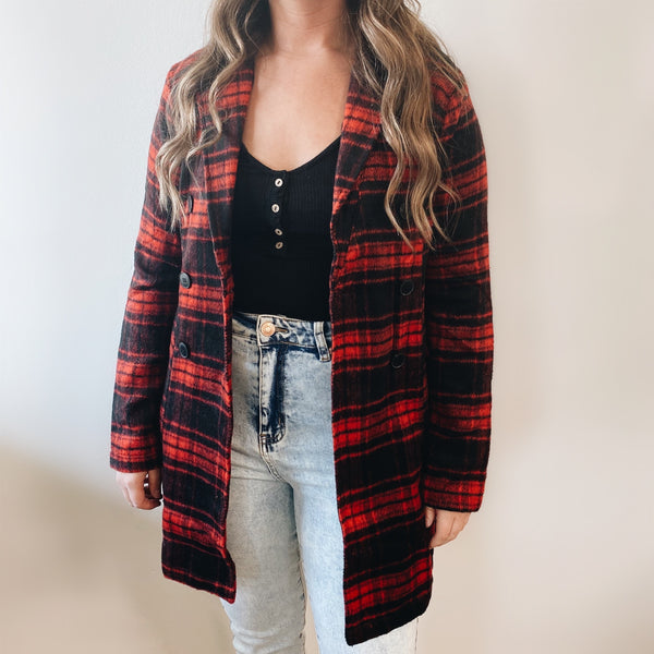 Red Plaid Trench