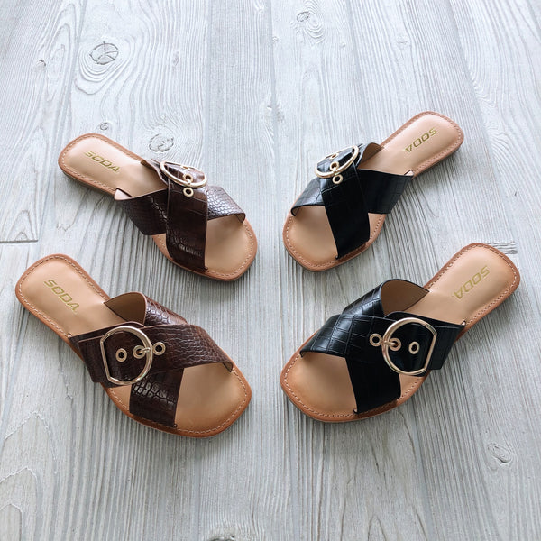 Buckle Sandal • Cognac or Black!