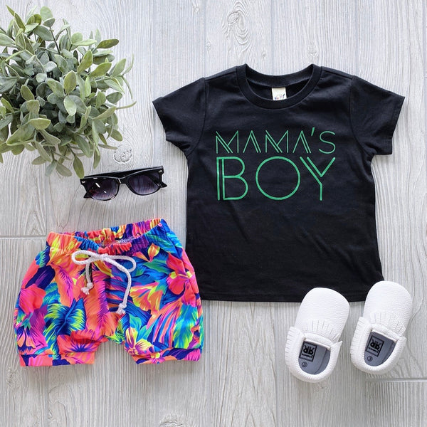 Mama's Boy Tee • Black & Lime