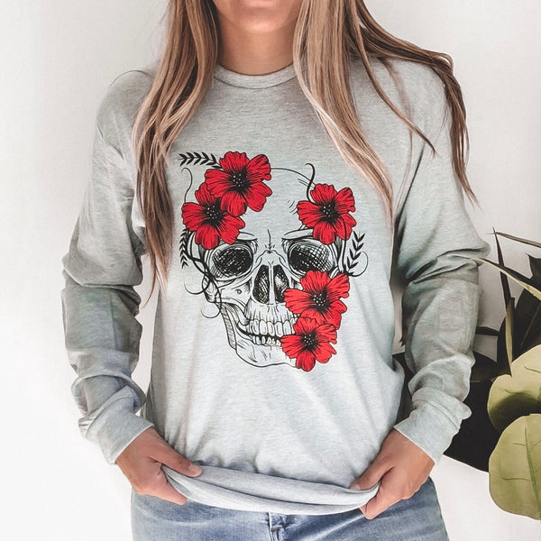Floral Skull • Gray Long Sleeved