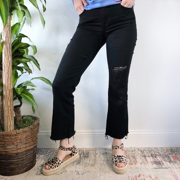 Mid-Rise Cropped Flare Jeans • Black Distressed