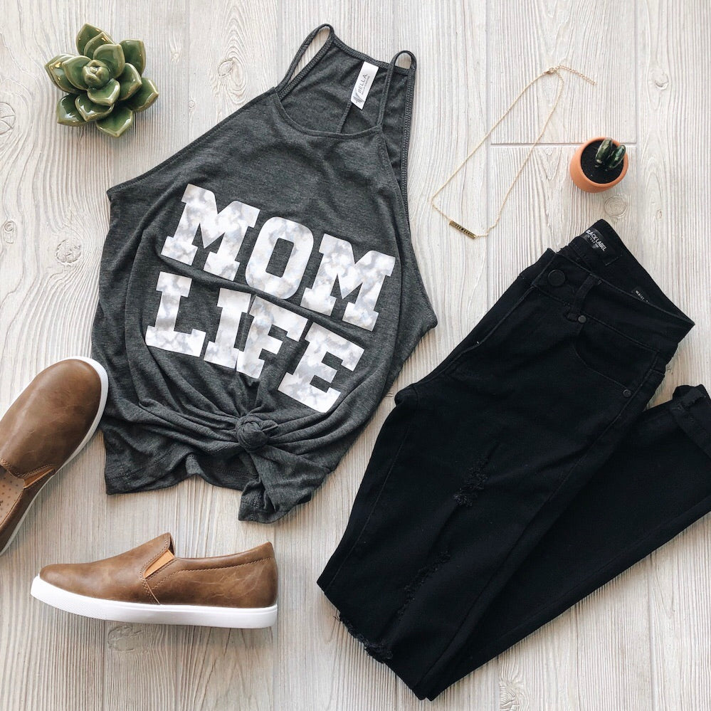 MOM LIFE Marble Print • High Neck Tank