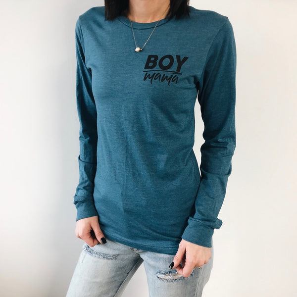 Boy Mama • Heather Teal Long Sleeve