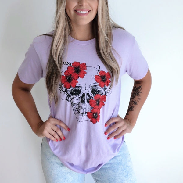 Floral Skull • Lilac Tee