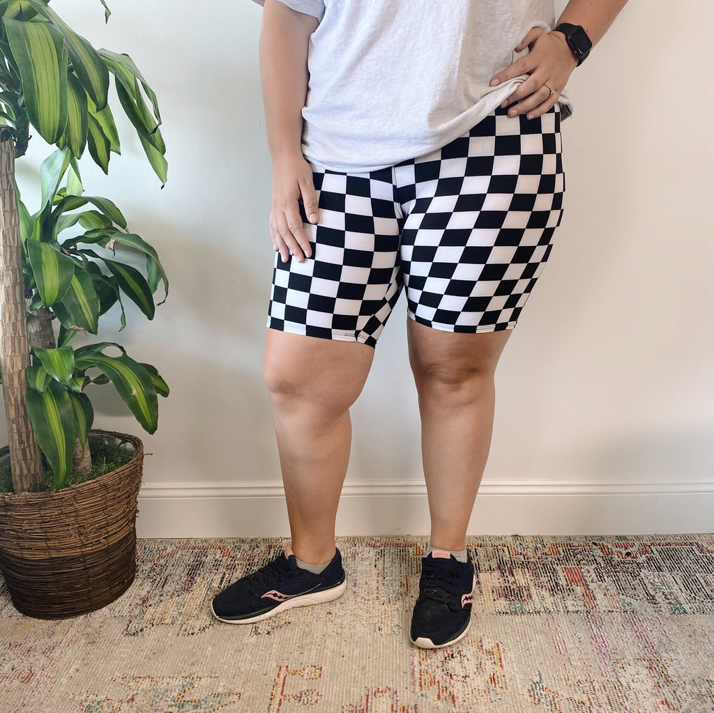 Checkered • Brushed Biker Shorts