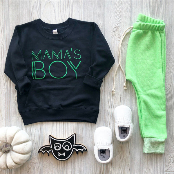 Mama's Boy Pullover • Black & Lime