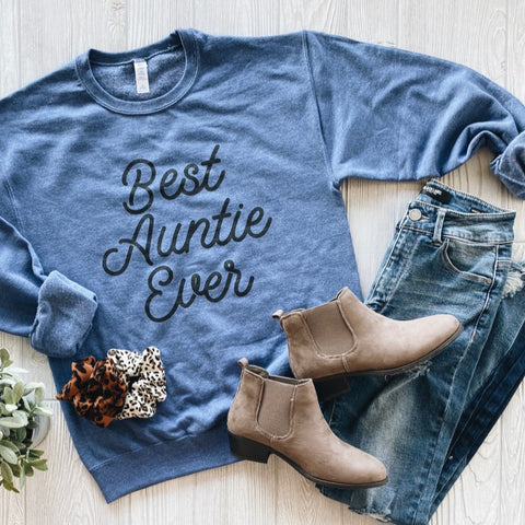 Best Auntie • Heather Blue Pullover