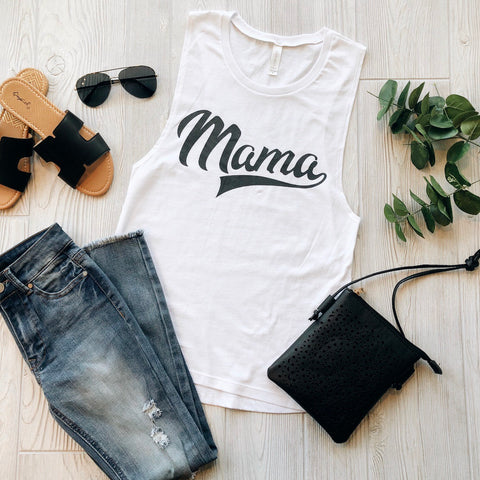 Mama Sporty • White Muscle Tank