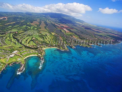 Aerial of Kapalua and Kapalua Bay, Maui, Hawaii Stock Photo Print - Hawaiipictures.com