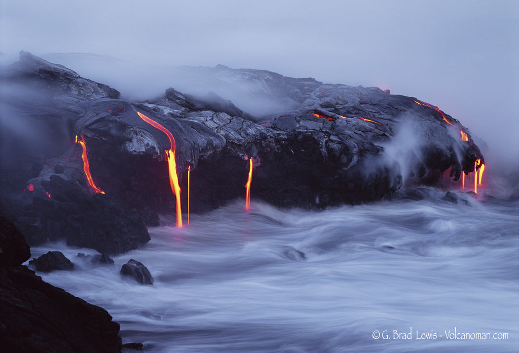 Creation lava flow into ocean misty dusk Big Island-Hawaiipictures.com