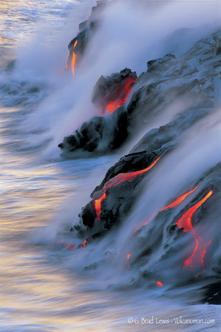 Ocean Dancing lava flow into ocean Big Island-Hawaiipictues.com