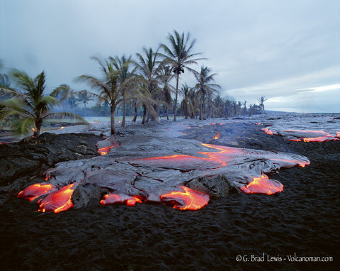 Transition lava flow on black sand beach Big Island-Hawaiipictures.com