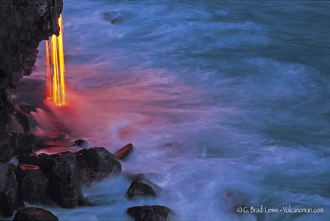 Firefall Lava flow in to the ocean Big Island-Hawaiipictures.com