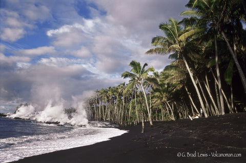 Kaimu Beach Black Sand Beach Hot lava flow steam Palm Trees Big Island -Hawaiipictures.com