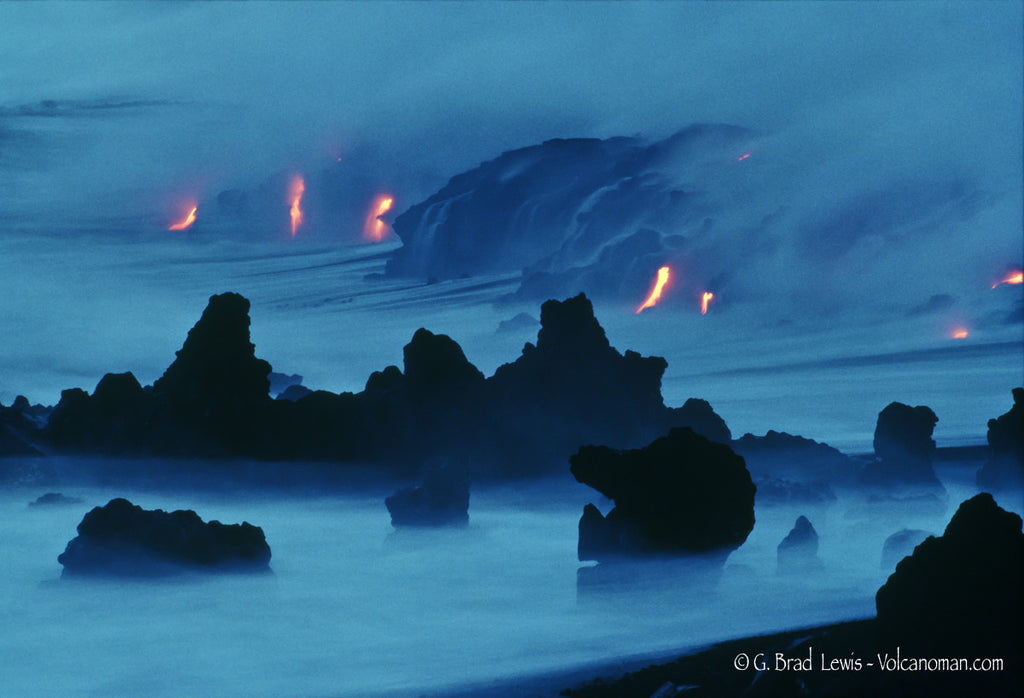 Kalapana Mist Lava Flow Nighttime Misty Lava Rock Big Island- Hawaiipictures.com