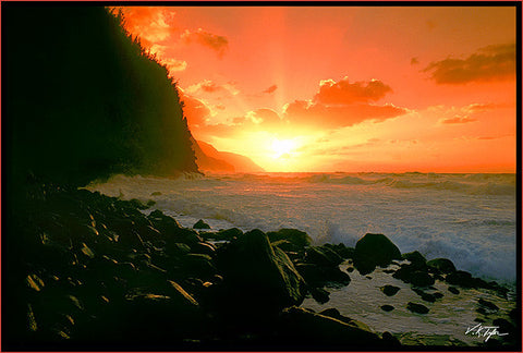 Napali Coast Sunset Kee Beach  with rocks Kauai-Hawaiipictures.com