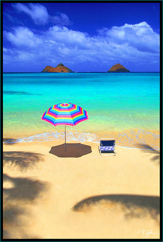 Tropical Oasis Lani Kai Beach Kailua Oahu with umbrella and beach chair with Mokulua in view-Hawaiipictures.com