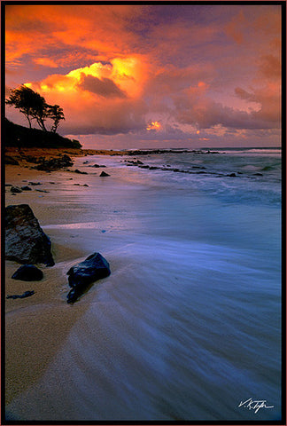 Coastal Sunset Anahola Kauai - Hawaiipictures.com