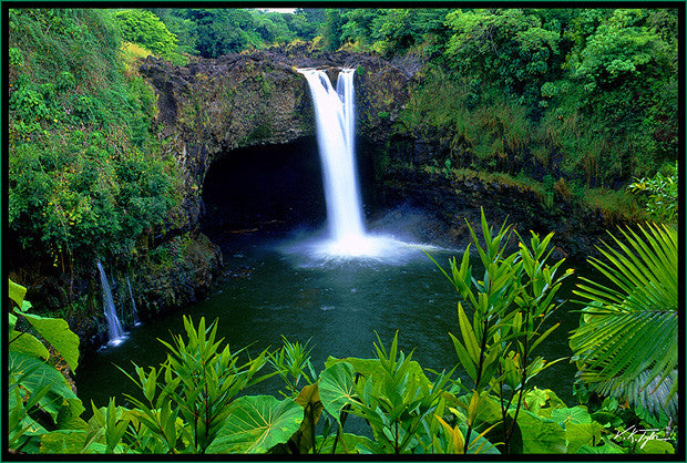 Rainbow Falls with Foliage Big Island- Hawaiipictures.com