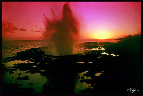 Spouting Horn Sunset Kauai - Hawaiipictures.com