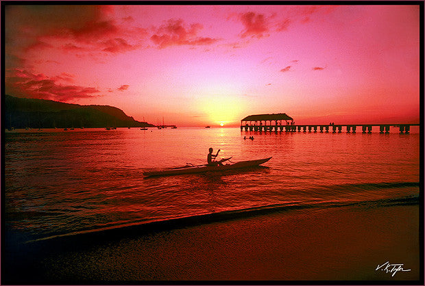 Hanalei Sunset With Kayaker - Hawaiipictures.com