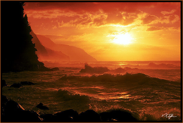 Napali Coast Sunset Kee Beach Kauai-Hawaiipictures.com