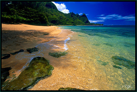 Tunnels Beach with Rocks and Reef Makua Beach Bali Hai Kauai-Hawaiipictures.com