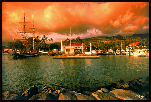 Lahaina Harbor with the Carthaginian at Dusk Maui-Hawaiipictures.com