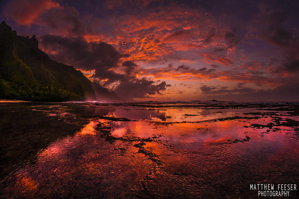 Kee Reflections Sunset Napali Coast Napali Cliffs-Hawaiipictures.com