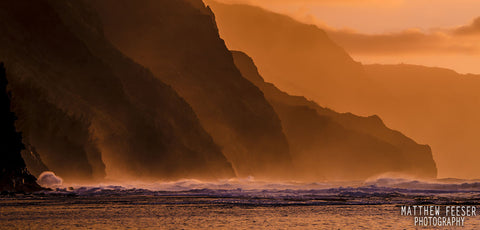 Kee Winter Sunset Kauai Napali Cliffs Napali Coast-Hawaiipictures.com