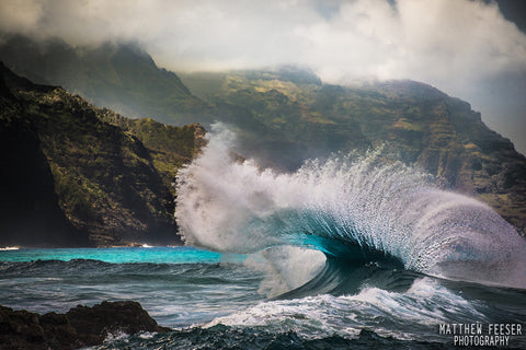 Kee Barrel Blue Wave Napali Coast Cliffs  Kauai-Hawaiipictures.com