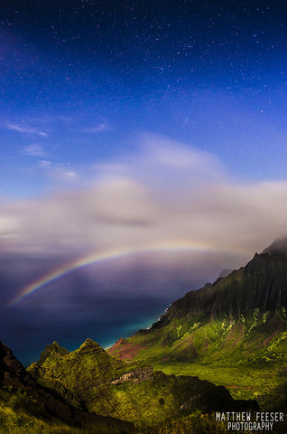 Rainbow island Universe Kauai Moonbow Milkyway clouds Vertical-Hawaiipictures.com