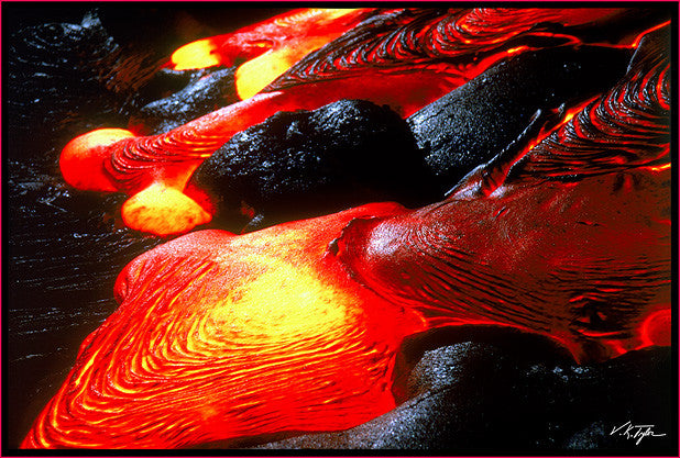 Red Hot Lava Pahoehoe Flow Closeup Night time  Evening Big Island Hawaii-Hawaiipictures.com
