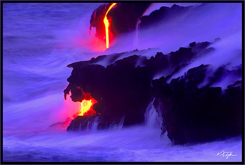 Lava Dreams Lava flowing into the ocean at dusk Big Island-Hawaiipictures.com