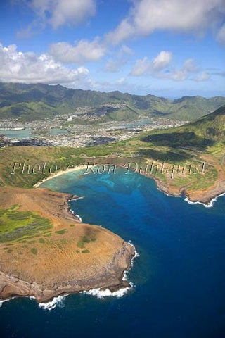 Hawaii, Oahu, Aerial of Hanauma Bay, Hawaii Kai in distance. - Hawaiipictures.com