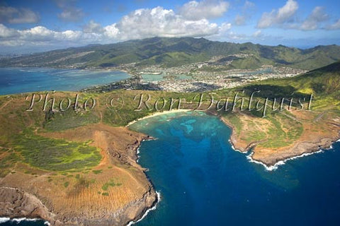 Hawaii, Oahu, Aerial of Hanauma Bay, Hawaii Kai in distance. Picture - Hawaiipictures.com