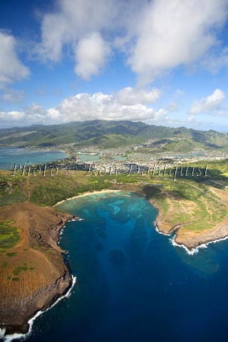 Hawaii, Oahu, Aerial of Hanauma Bay, Hawaii Kai in distance. Photo - Hawaiipictures.com