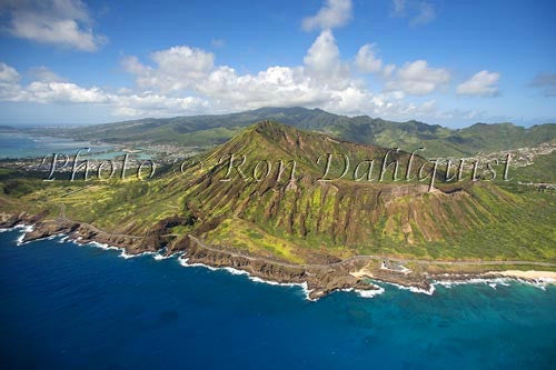 Hawaii. Oahu, Aerial of Diamond Head crater and beach, rugged cliffs, ocean