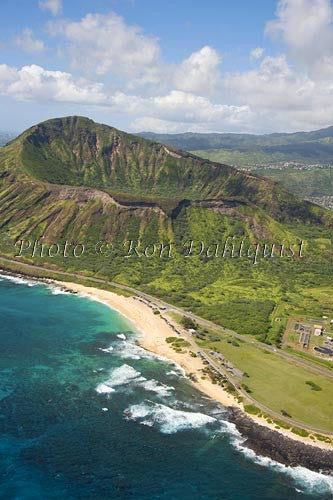 Hawaii. Oahu, Aerial of Diamond Head crater and Sandy Beach, rugged cliffs, ocean