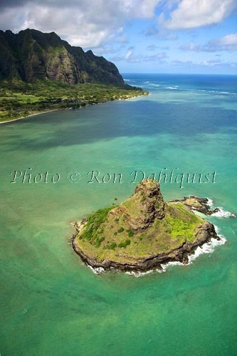 Hawaii, Windward Oahu, Kaneohe Bay, Aerial of Mokolii Island (Chinamans Hat) and Koolau Mountains,