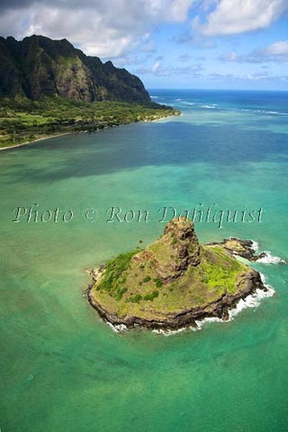 Hawaii, Windward Oahu, Kaneohe Bay, Aerial of Mokolii Island (Chinamans Hat) and Koolau Mountains, - Hawaiipictures.com