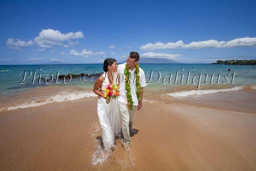 Hawaiian wedding. Newly married couple walking on the beach, Makena, Maui, Hawaii Picture