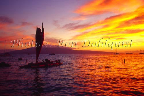 Sailing canoe, sailing into the sunset, Lahaina, Maui, Hawaii