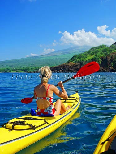 Woman kayaking on the southern coast of Maui near Makena, Maui, Hawaii Picture