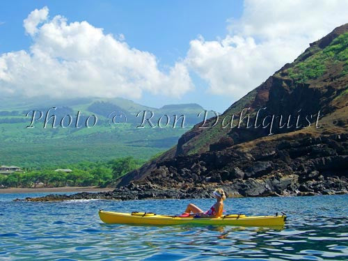 Woman kayaking on the southern coast of Maui near Makena, Maui, Hawaii Picture Photo