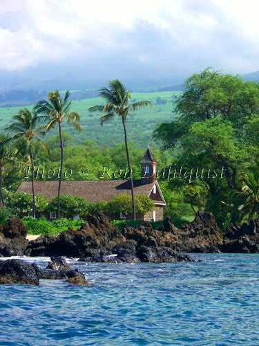 Keawalai Church viewed from the water, Makena, Maui, Hawaii Picture