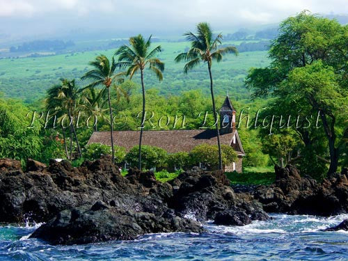 Keawalai Church viewed from the water, Makena, Maui, Hawaii - Hawaiipictures.com
