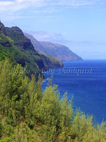 View of the Na Pali Coast as viewed from the Kalalau Trail. Kauai, Hawaii